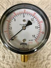 Winters Plp301 2.5� 1/4Npt Low Pressure Gauge, Bottom, O to 32 in H2O