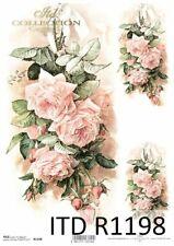 Reispapier-Motiv Strohseide-Decoupage-Serviettentechnik-Vintage-Rosen-19066