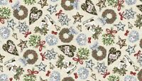 Fat Quarter Balmoral Christmas Icons Holiday 100% Cotton Quilting Fabric Makower