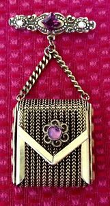 Vintage Dangling Mesh Purse Locket Brooch Gold Tone Purple Pink Rhinestone Opens