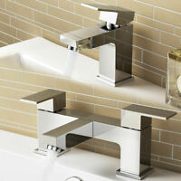 WATERFALL SQUARE CHROME BATHROOM TAPS SET - BASIN MONO & BATH SHOWER MIXER TAP