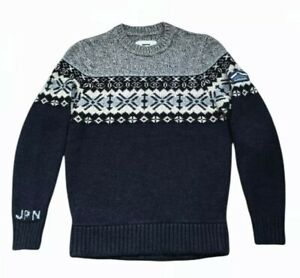 SUPERDRY CREW NECK MENS SIZE L KNIT NORDIC JUMPER SWEATER MOUNTAIN GOODS
