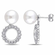 Sterling Silver 2 in 1 Pearl 1 Ct TGW White Topaz Teardrop Halo Earrings 8-8.5mm