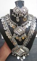 Statement Long Layered Coin Necklace Earrings Boho Vintage Gypsy Tribal Jewelry