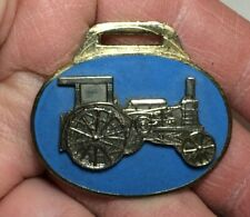 Enamel Fob of Tractor Turquoise Color Vintage Watch Fob A Classic Issue Brass