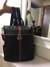 Mini Fancy Backpack Women Waterproof Black PU Faux Leather Medium Sized NEW