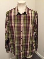 PRANA Long Sleeve Organic Cotton Shirt Mens Size XL Green Brown Plaid