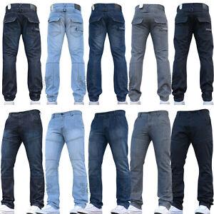 Mens Nice Crosshatch Jeans Designer Straight Fit Regular Pants New All Sizes