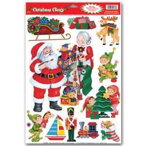 Holiday CHRISTMAS WINDOW CLINGS Santas Workshop Scenes