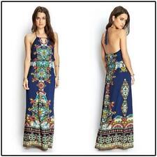 Forever 21 Blue Boho Maxi Dress Size M Womens Halter Open Back Print Summer