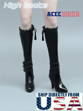 "1/6 Scale Leather Boots BLACK For 12"" Hot Toys TBLeague PHICEN Female Figure USA"