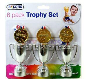 6 pcs Mini Gold Trophy Plastic Trophies Party Bag Fillers - UK Supplier