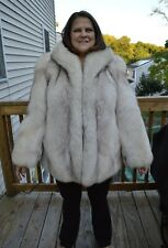 Blue Fox Fur Jacket - Large, coat collar wide pelts soft sable, mink, chinchilla