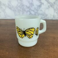 Vintage Milk Glass Oven Proof butterfly Coffee Cup Mug