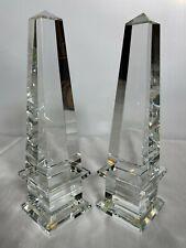 Pair Restoration Hardware Crystal Obelisk Book Ends Crystal Prism Obelisks