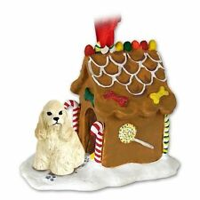 COCKER SPANIEL Blonde Buff Dog Gingerbread Ginger Bread House Christmas ORNAMENT