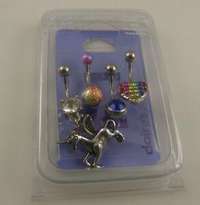 4 belly button ring, piercing, body jewelry unicorn Pegasus rainbow navel naval