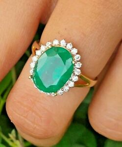 0.70ct Natural Round Diamond 14k Solid Yellow Gold Emerald Wedding Cluster Ring