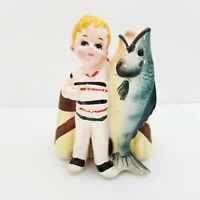 Vintage 1960's Ceramic Boy with Fish Planter made in Japan Inarco E-4126