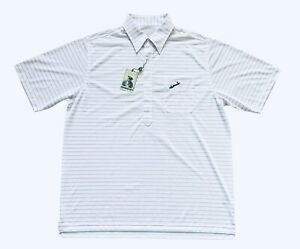 NWT Donald Ross Mens L FISHERS ISLAND CLUB Pink Striped Golf Pocket Polo Shirt
