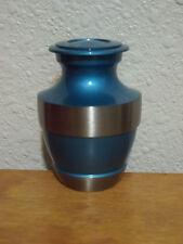 Gorgeous Azure Blue & Pewter Solid Brass Keepsake Token Mini Urn w/Velvet Bag