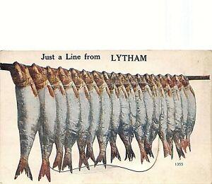 POSTCARD  COMIC  - LYTHAM  - JUST A LINE - FISH  - MAILING NOVELTY