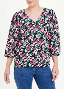 BNWT Matalan Pink Black Floral Puff Sleeve V-Neck Blouse sz 12 14 (CF)