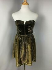 NWT Lucca Couture By Urban Outfitters Shiny Gold Metallic Mini Dress Sz M NEW