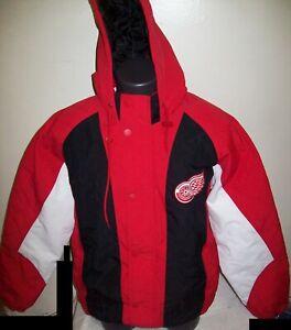 DETROIT RED WINGS STARTER Hooded Parka Winter Jacket BLACK/RED MEDIUM LARGE