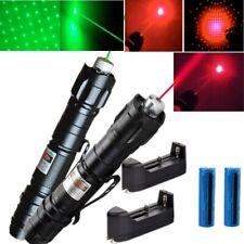2x Super Bright 500miles Green+Red Laser Pointer Pen Amazing Star Beam+Batt+Char