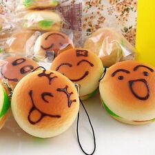Jumbo Squishy Expression Hamburger Phone Straps Soft Face Bread Bun Charms w1A