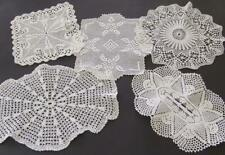 Five Beautiful Vintage White Finely Hand Crocheted Doilies