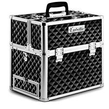 Cosmetics Case Portable Make up Carry Bag Strap Professional 4 Trays Diam Black