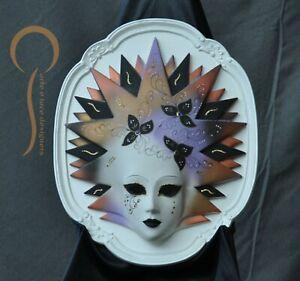 Maschera veneziana carnevale in resina decorata a mano su base in legno