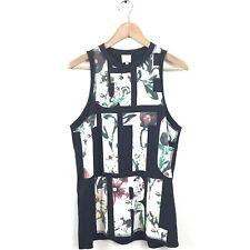 3.1 Phillip Lim Tank Top XS Get It Girl Black Multi Floral Print Muscle T Cotton