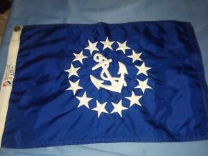 """Vintage 12"""" X 18"""" Embroidered Yacht Ensign Boat Flag"""