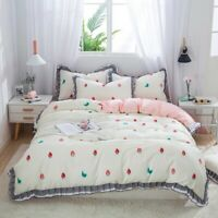 Luxury Princess Cotton Bedding Set Ruffle  Duvet Cover Strawberry Bed Sheet 4pcs