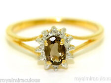 Smokey Quartz & Diamond (June Birthstone) Ring Sterling Silver or Gold Plated