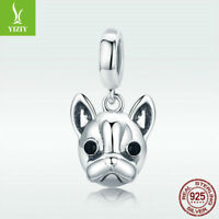Fine 925 Sterling Silver Charm Bead French Bulldog Pendant For Bracelet Jewelry