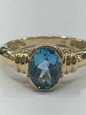 9ct 9K Yellow Gold Natural Blue Topaz Ladies Ring   Brand New Instore