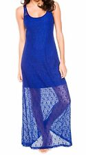 Tommy Bahama Swimsuit Cover Up Sz Small Lace Navy Blue Maxi Tank Dress