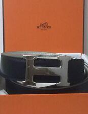 Cinturón Hebilla de paladio HERMES Vintage Azul Marino/Blanco Reversible Cinturón De Cuero - 105