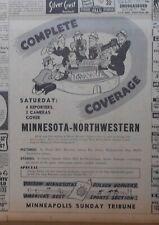 1945 newspaper ad for Minnesota vs. Northwestern Football game coverage
