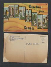 1940s LARGE LETTER GREETINGS FROM COLUMBUS GEORGIA POSTCARD