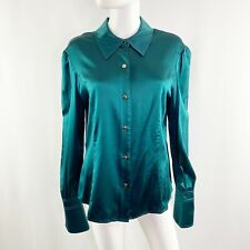 NEW St. John Emerald Green Long Sleeve Silk Blouse Size 16 Button Front