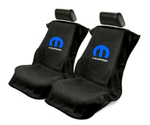 Seat Armour 2 Piece Front Car Seat Covers with Mopar Logo - Black Terry Cloth