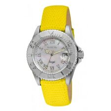 Invicta 18405 Angel MOP Dial Swiss Quartz Yellow Leather Women's Watch