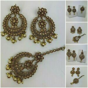 Wedding Bollywood Indian Pakistan Jewellery Earrings With Jhumka Set For Women