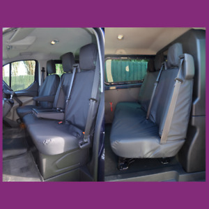 Ford Transit Custom Crew Cab 2013+ Front 3 (W/Tray) + Rear Seat Covers Black