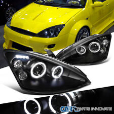 Ford 00-04 Focus Replacement LED Halo Black Projector Headlights Driving Lamps